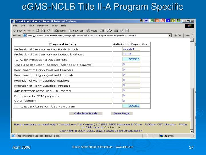 eGMS-NCLB Title II-A Program Specific