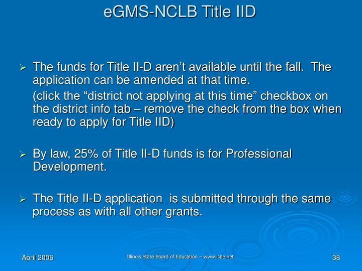 eGMS-NCLB Title IID