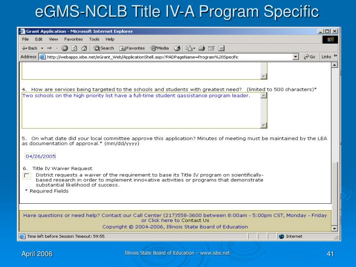 eGMS-NCLB Title IV-A Program Specific