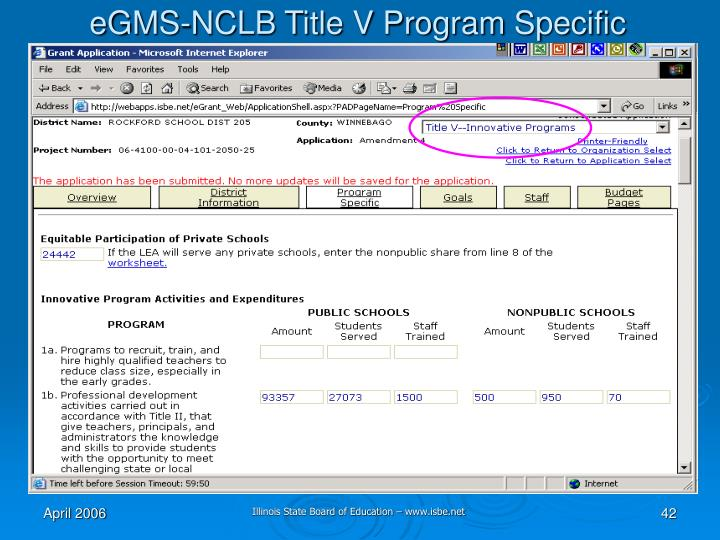 eGMS-NCLB Title V Program Specific