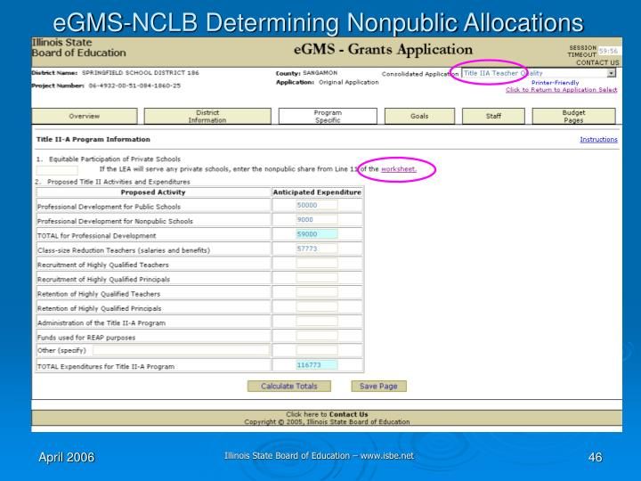 eGMS-NCLB Determining Nonpublic Allocations