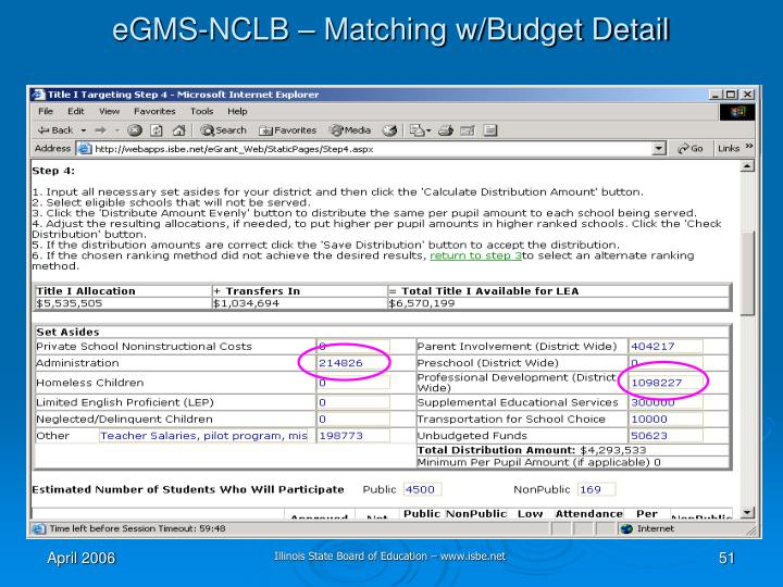 eGMS-NCLB – Matching w/Budget Detail