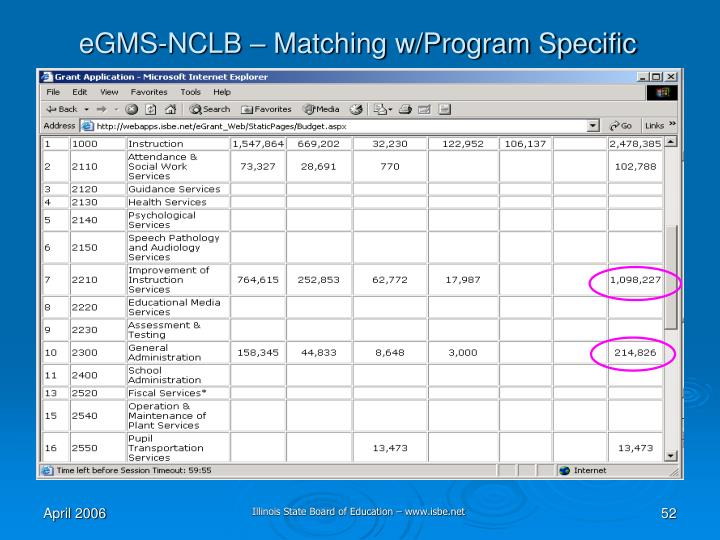 eGMS-NCLB – Matching w/Program Specific