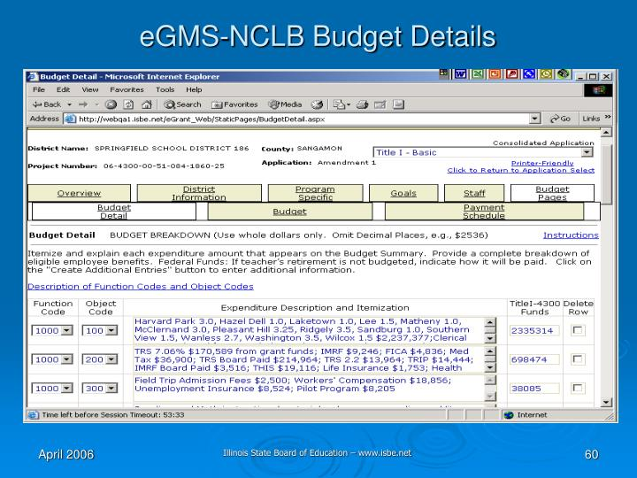 eGMS-NCLB Budget Details