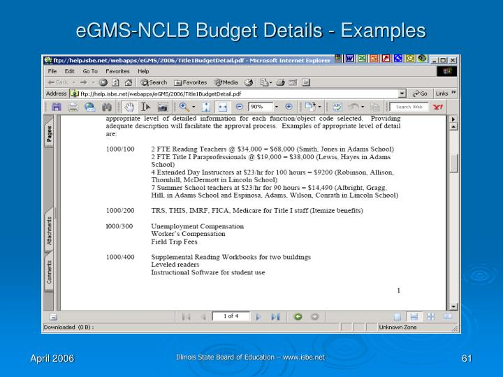 eGMS-NCLB Budget Details - Examples