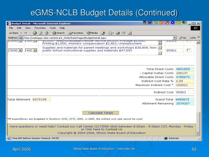 eGMS-NCLB Budget Details (Continued)