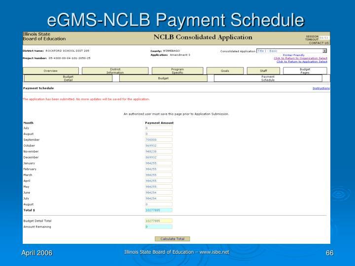eGMS-NCLB Payment Schedule