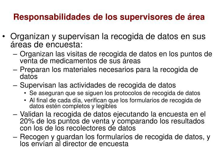 Responsabilidades de los supervisores de área