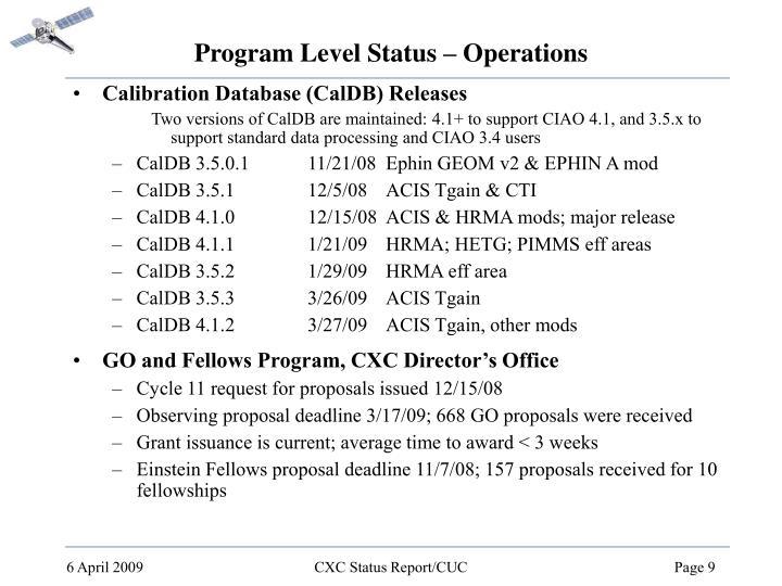 Program Level Status – Operations