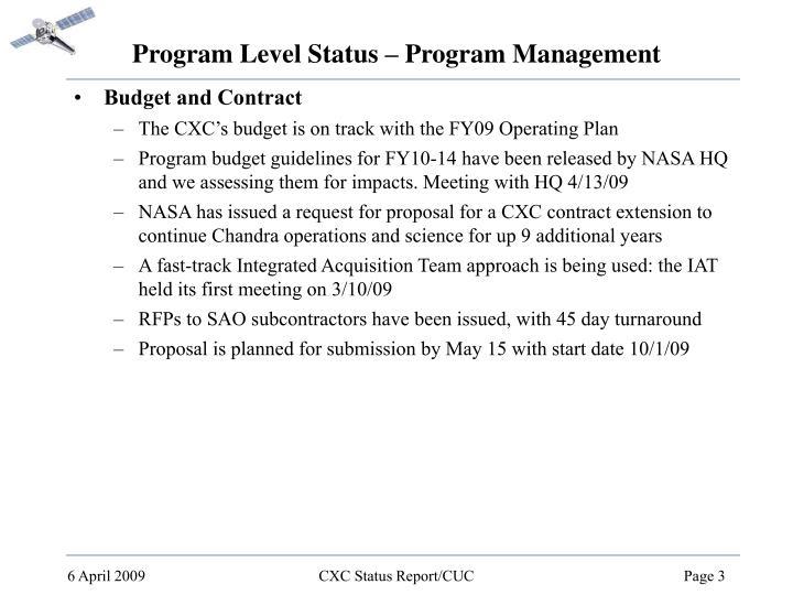 Program Level Status – Program Management