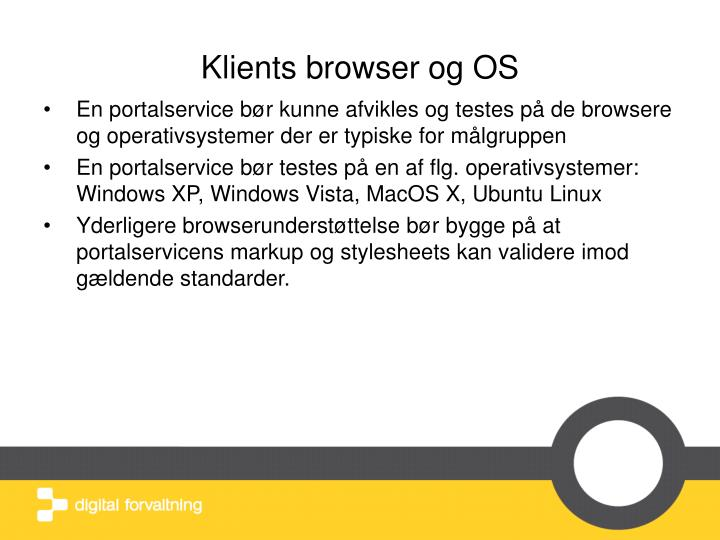 Klients browser og OS