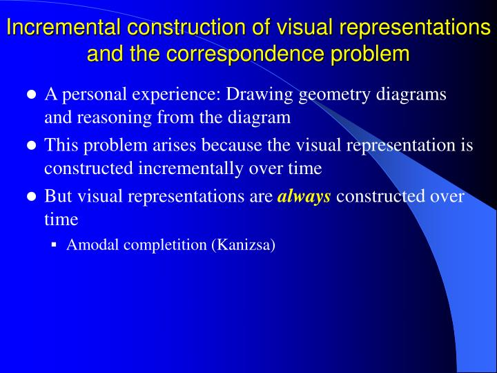Incremental construction of visual representations and the correspondence problem