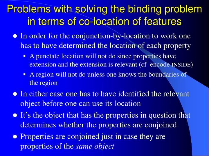 Problems with solving the binding problem in terms of co-location of features