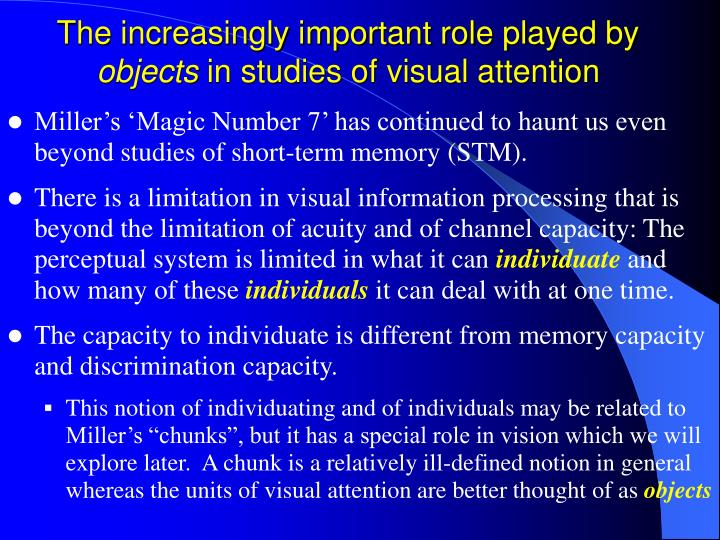 The increasingly important role played by objects in studies of visual attention