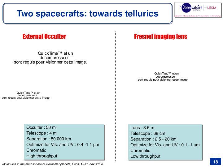 Two spacecrafts: towards tellurics