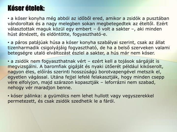 Kóser ételek: