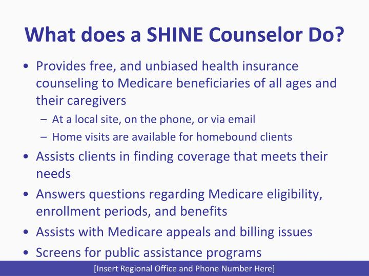 What does a SHINE Counselor Do?