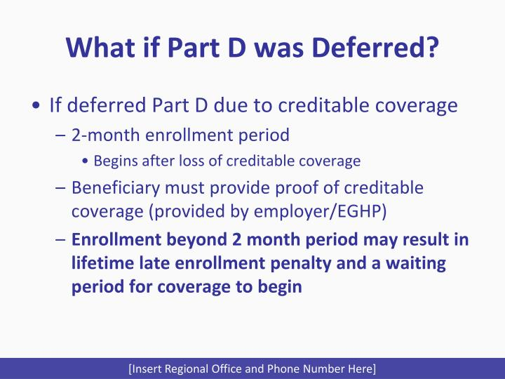 What if Part D was Deferred?