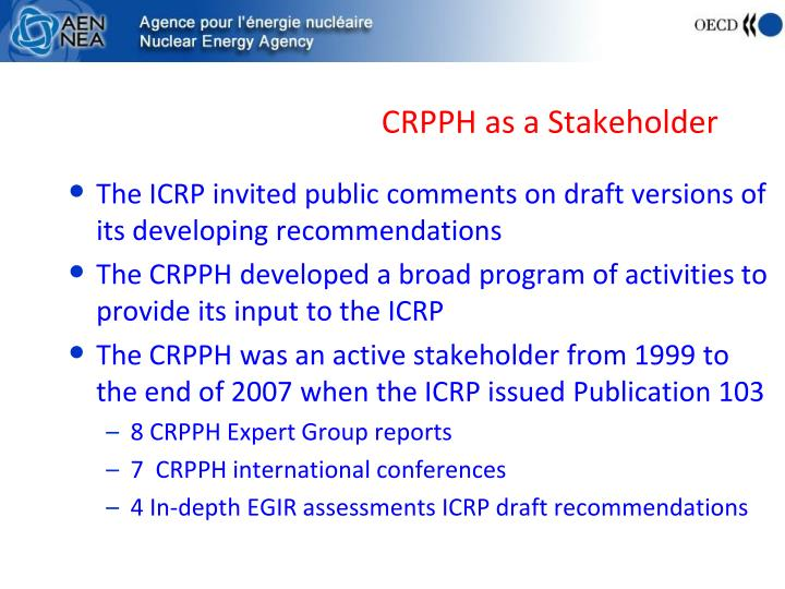 CRPPH as a Stakeholder