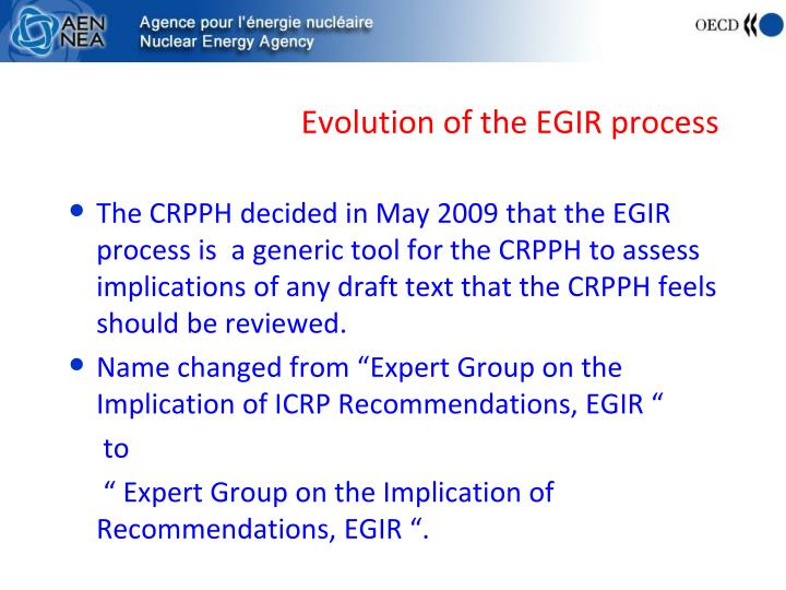 Evolution of the EGIR process