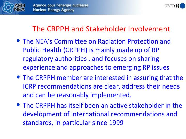 The CRPPH and Stakeholder Involvement
