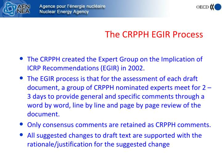 The CRPPH EGIR Process