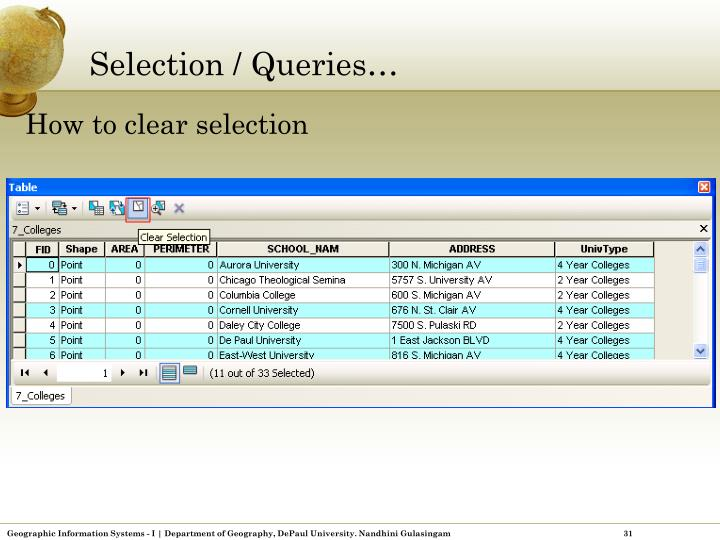 Selection / Queries…