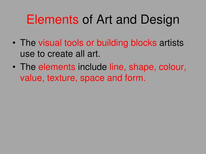 Elements of art and design