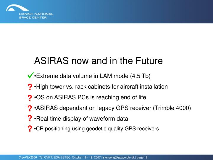 ASIRAS now and in the Future