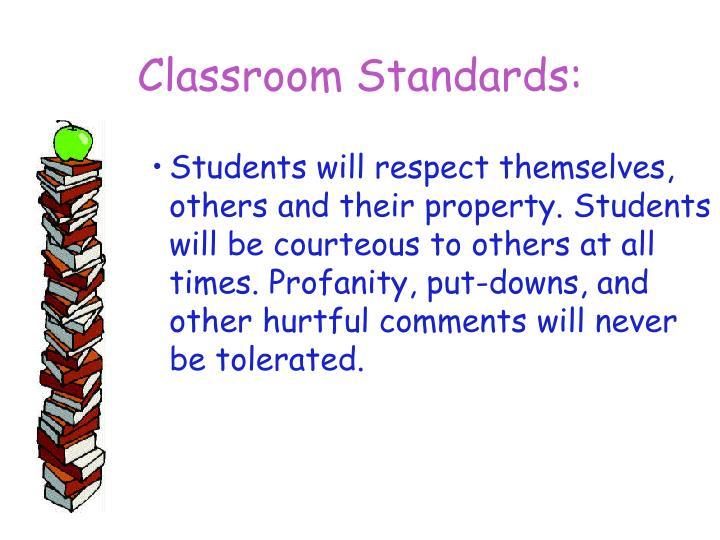 Classroom Standards: