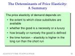the determinants of price elasticity a summary