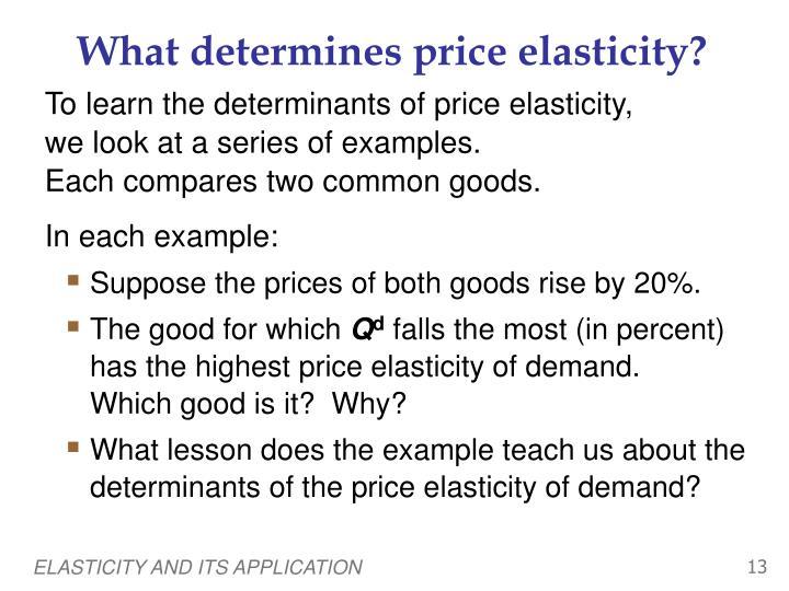 What determines price elasticity?