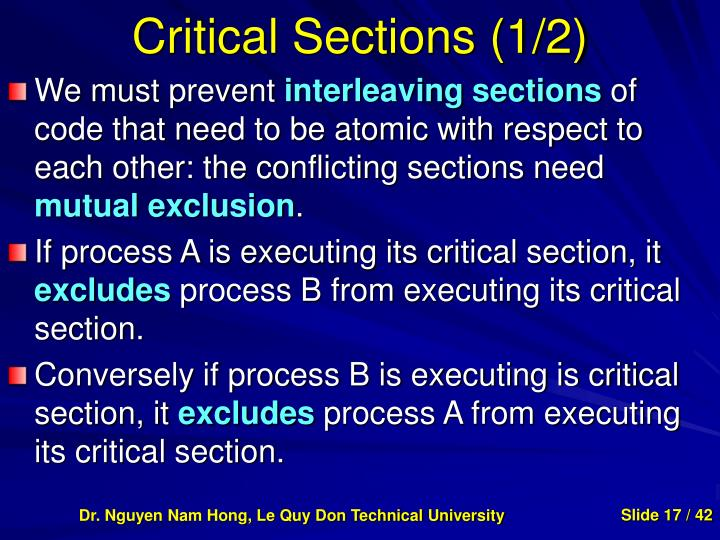 Critical Sections (1/2)