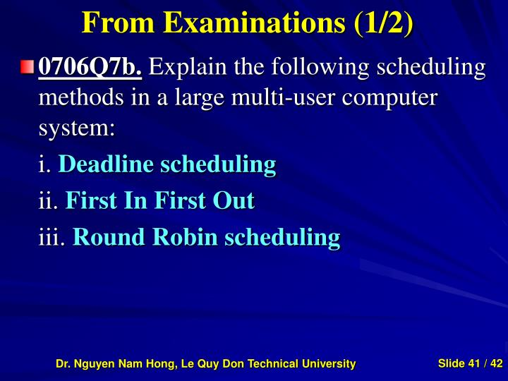 From Examinations (1/2)