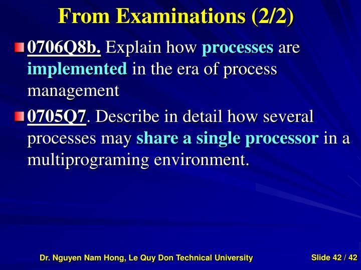 From Examinations (2/2)