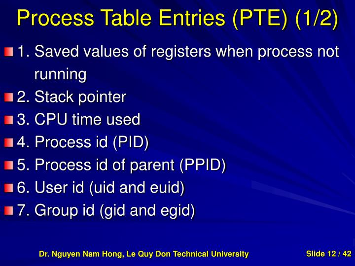 Process Table Entries (PTE) (1/2)