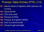 process table entries pte 1 2