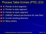process table entries pte 2 2