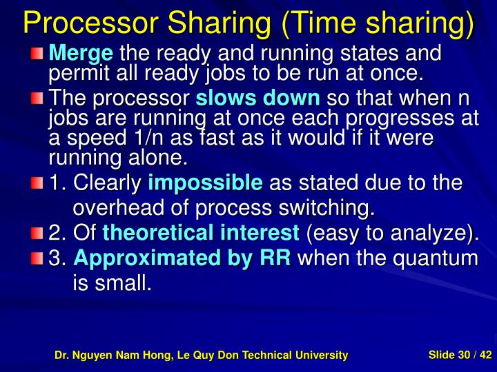 Processor Sharing (Time sharing)