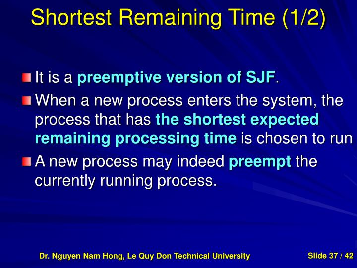 Shortest Remaining Time (1/2)