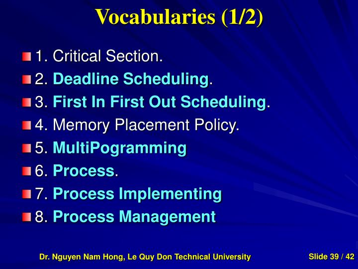 Vocabularies (1/2)