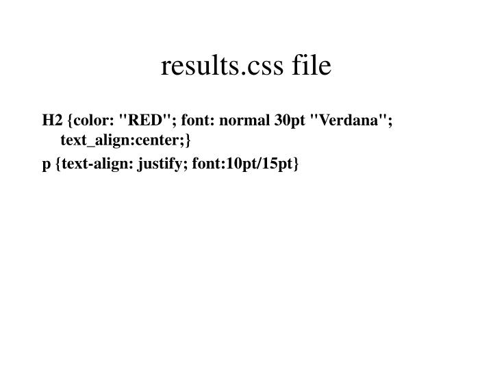 results.css file