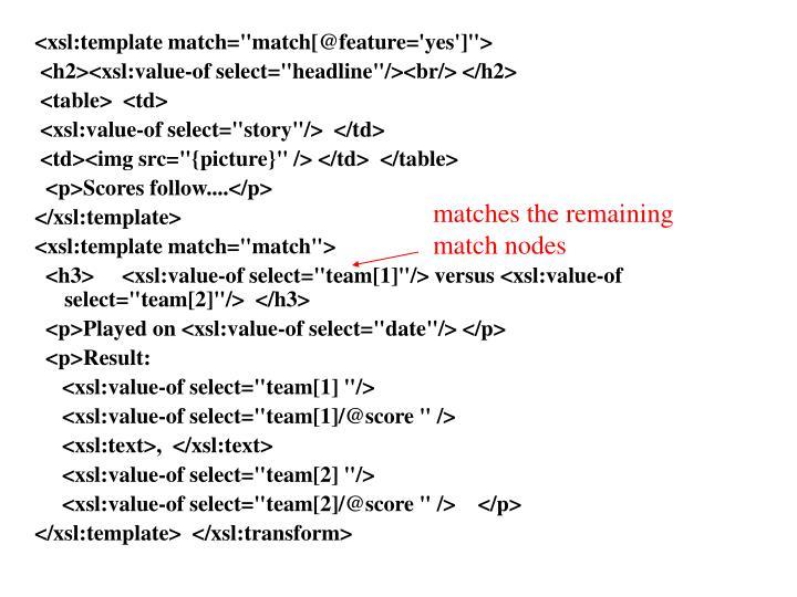 """<xsl:template match=""""match[@feature='yes']"""">"""