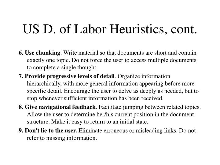 US D. of Labor Heuristics, cont.