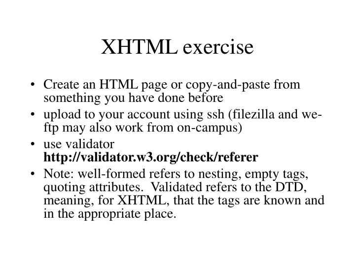XHTML exercise