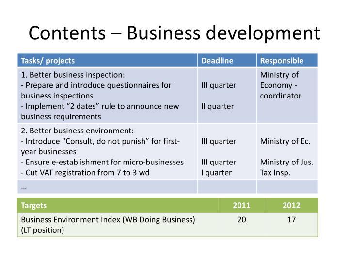 Contents – Business development