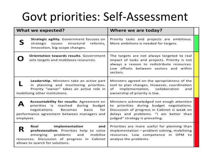 Govt priorities: