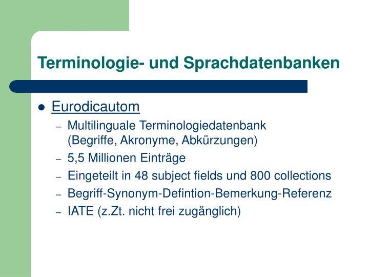 Terminologie- und Sprachdatenbanken