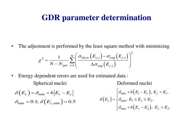 GDR parameter determination