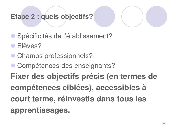 Etape 2 : quels objectifs?